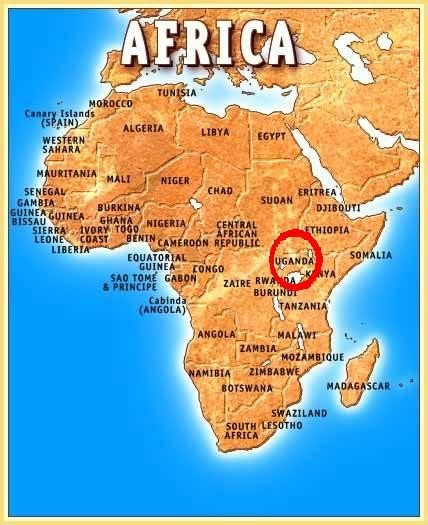 Map of Africa showing the Location of Uganda